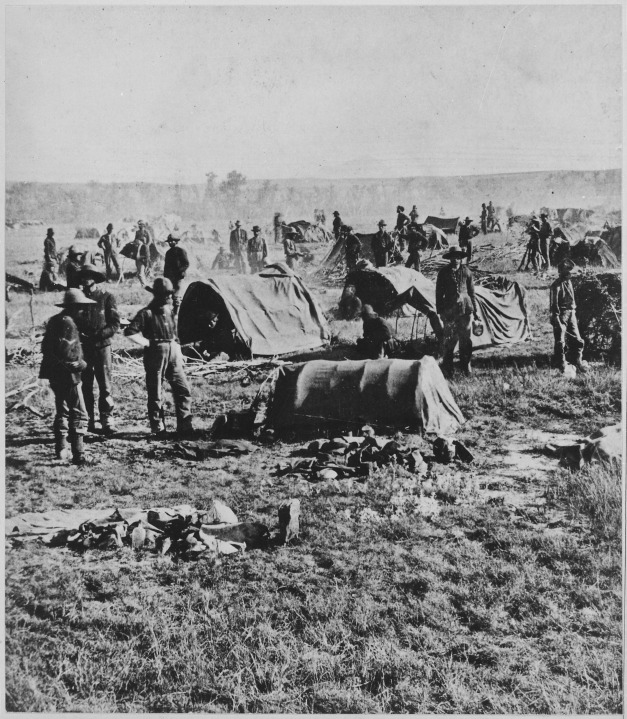 -Gen._Crook's_headquarters_in_the_field_at_Whitewood_(Dak._Terr.)._On_starvation_march_1876.-_Closeup_of_a_camp_scene_sh_-_NARA_-_533170